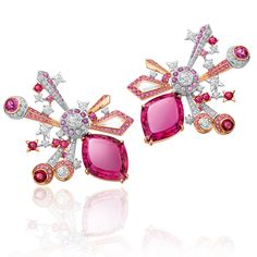 Chow Tai Fook L'Acoustique du Coeur Earrings, Set with Pink and Purple Sapphires, Diamonds, Rubellite Tourmalines, Rubies and Rock Crystals