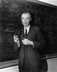 "Julius Robert Oppenheimer (April 1904 – February American theoretical physicist and professor of physics at UC, Berkeley. Along with Enrico Fermi, he is often called the ""father of the atomic bomb"" for his role in the Manhattan Project. Famous People In History, Ap World History, Mystery Of History, World War Ii, American History, History Pics, Robert Oppenheimer, Non Plus Ultra, Manhattan Project"