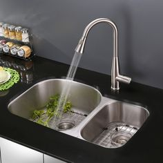 Ruvati RVF1228ST Stainless Steel Pullout Spray Kitchen Faucet