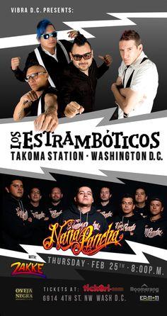 Bailongo asegurado con Los Estramboticos + Nana Pancha & Zakke el 25 de Febrero en Takoma Station Tavern!