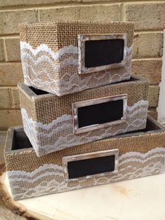 SET of 3 Burlap and Lace Wrapped Boxes Want fantastic helpful hints about crafts? Head to this fantastic info! Burlap Projects, Burlap Crafts, Diy Projects, Diy Arts And Crafts, Cute Crafts, Crafts To Make, Burlap Lace, Hessian, Fabric Storage Boxes