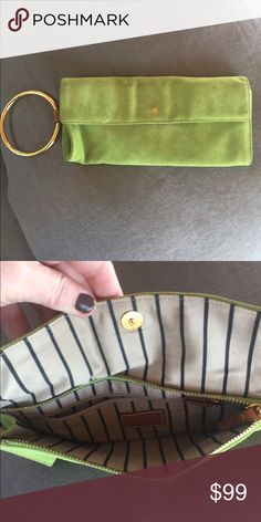 Kate Spade lime green suede clutch! Fun lime green suede Kate Spade authentic clutch! With gold detail, gently used. kate spade Bags Clutches & Wristlets