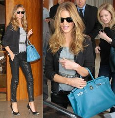 Rosie stepped out in Sao Paulo looking flawless as always. She wore a pair of Elizabeth and James pants, Salvatore Ferragamo high heels, Ray Bag sunglesses and a lovely chic blue Hermes bag who add...