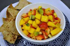 fresh fruit salsa + cinnamon sugar pita chips
