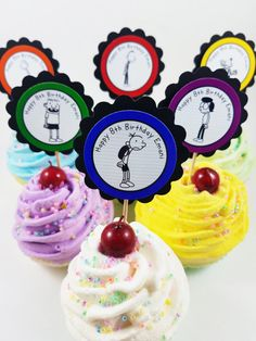 Personalized Diary of A Wimpy Kid cupcake toppers for birthdays or book parties for the classroom