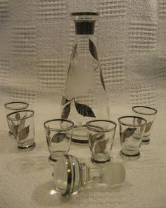 Smoked Grey and Etched Liquor Decanter and 6 by DocsOddsandEnds