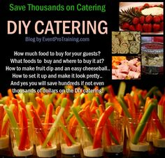 DIY catering -- what to buy and where to buy it for a set number of guests .how to make the dip and cheese ball (or other delicious bites). Finger Food Catering, Finger Food Appetizers, Appetizer Recipes, Catering Food, Catering Display, Catering Table, Catering Events, Party Catering, Wedding Reception Food