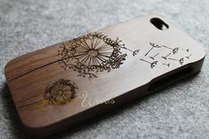 WALNUT iphone 5c case wood iphone 5c case dandelion by WoodBliss, $25.00