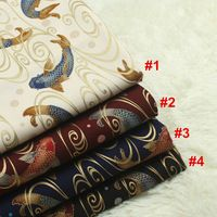 1 yard 100% cotton import soft breeze series Japanese gilt fabric with carp print handmade DIY bag mouth gold package cloth 874