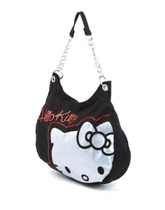 Hello Kitty Black With Silver Shoulder Bag - Hello Kitty Chain Bag - Hello Kitty Stores Hello Kitty Bag, Baby Accessories, Cute Cartoon, Cosmetic Bag, Fashion Bags, Drawstring Backpack, Bag Design, Design Ideas