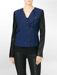 faux leather + tweed colorblock moto jacket