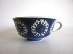 Royal Copenhagen Fajance Annette Teacup Danish Mid Century Modern Scandinavian Blue White Flowers Rare Cup. via Etsy.