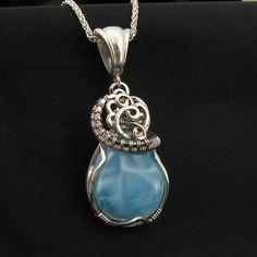 Larimar Necklace - Larimar -Genuine Blue Larimar Pendant - Larimar Jewelry - Statement Necklace - Wire Wrapped via Etsy