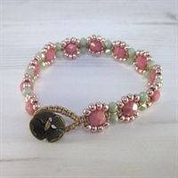 Macrame and Czech bead bracelet kit - Coral Pink