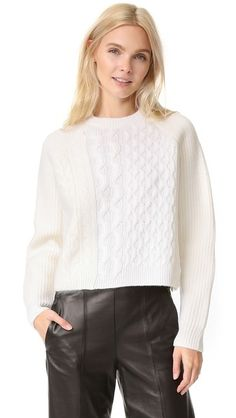 Alexander Wang Cable Striped Crew Neck Pullover