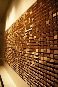 wooden mirror by daniel rozin @ the W hotel {seoul}