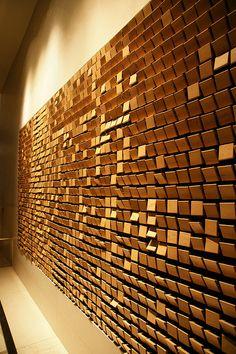 wooden mirror by daniel rozin @ the W hotel {seoul}