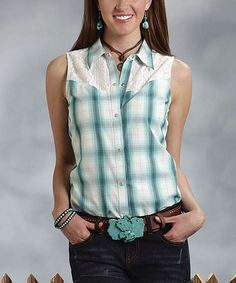 Love this White & Teal Ombré Plaid Sleeveless Button-Up Blouse - Women on #zulily! #zulilyfinds