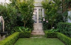Manicured lawn with squared boxwood border + specimen trees flanking French doors