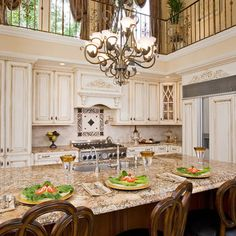 French Country Kitchen Cabinets Design. woah second floor looking over into kitchen