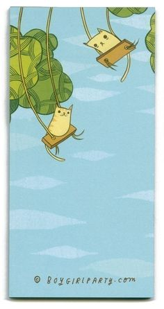 SWINGING CATS NOTE PAD by boygirlparty color kitty by boygirlparty