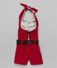 Look at this #zulilyfind! White & Red Belted Romper - Toddler & Girls #zulilyfinds