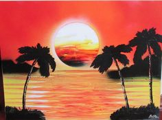 orange sunset wall art sunset spray paint home decor poster by FloralFantasyDreams