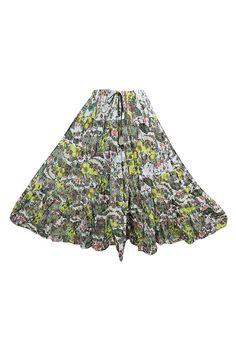 e0ef3536c7 Mogul Interior Womens Festive Skirt Green Printed Flare Crinkle Boho Maxi  Skirts: Amazon.co.uk: Clothing