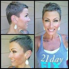 Superb Short Pixie Haircuts for Women - Are you looking for an extraordinary innovation? Are you tired of your long boring hair style? Super Short Hair, Short Grey Hair, Short Hair Cuts, Short Hair Styles, Very Short Pixie Cuts, Very Short Haircuts, Short Hairstyles For Women, Hairstyle Short, Everyday Hairstyles