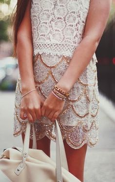 sparkled lace pearl dress