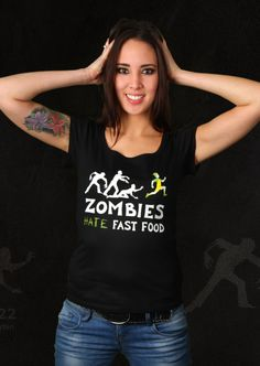 Zombies Hate Fast Food T-Shirt | Design by Davydko $19.95