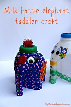 Milk Bottle Elephant tutorial a really sweet idea for getting toddlers interested in crafting and to start a conversation about recycling too!