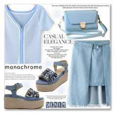 """""""Casual Look"""" by jecakns ❤ liked on Polyvore featuring Love Quotes Scarves, monochrome, denim, Blue, denimskirts and zaful"""