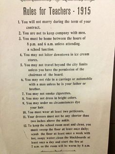 1915 Rules for Teachers. An original of this exact list can be found hanging in the historic Bostick School in Richmond County, NC. North Carolina historical attractions.