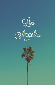 Typography design blue Los Angeles sun california floral palm tree vertical…