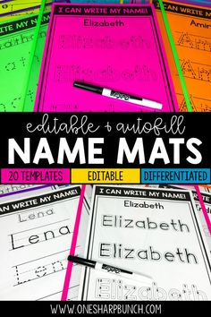 Name Practice Mats Editable 1st Grade Activities, Name Activities, Writing Activities, Name Tracing Templates, Name Tracing Worksheets, Kindergarten Name Practice, Preschool Kindergarten, Kindergarten Readiness, Classroom Resources