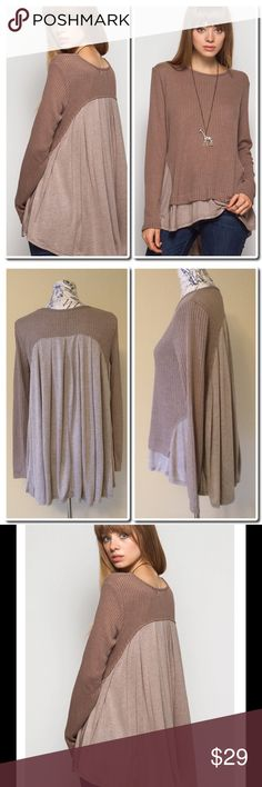 Long Sleeve Ribbed Top with Solid Contrast Long Sleeve Ribbed Top with Solid Contrast in Mocha. 75% Cotton 25% Rayon - Contrast 100% Cotton- Hand Wash- Hang to Dry She and Sky Tops