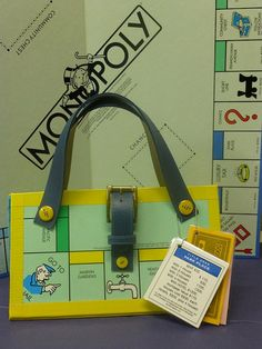 Up-cycled Monopoly Board Game Purse Novelty Gift made from recycled game