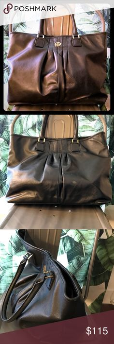 """Tory Burch 'Verona' Leather Tote Authentic Tory Burch 'Verona' handbag in supple black leather with gold hardware. Top magnetic snap closure. Interior zip pocket and two slip pockets. Double top leather handles with 9"""" drop. Slight scuff marks on exterior and pen markings inside as seen in photos. Measures approximately: 13.25"""" height, 17.25"""" length, 3"""" depth. I don't have the original dust bag, but will send with a Tory Burch shopping bag. Smoke-Free/Pet-Friendly. Tory Burch Bags"""