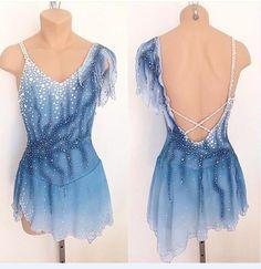 Blue Figure Skating Dress Girls Competition Skating Dress for Ice Skating B32 #yike