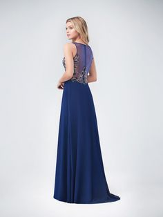 Val Stefani | Style 3238RE | Beautiful V-Neck Chiffon A-Line with Slit and Illusion Back