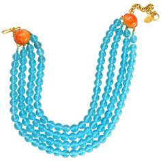 Philippe Ferrandis Paris Turquoise and Coral Collar | From a unique collection of vintage more necklaces at https://www.1stdibs.com/jewelry/necklaces/more-necklaces/
