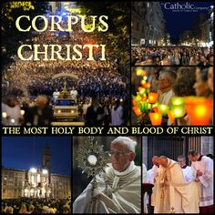 "The Solemnity of the Most Holy Body and Blood of Christ is also called Corpus Christi, which translates from Latin to ""Body of Christ."" This feast traditionally falls on the Thursday after Trinity Sunday. Corpus Christi focuses on the Real Presence of Christ in the Holy Eucharist and is often celebrated with a Eucharistic Procession. With this celebration Catholics show their love for Our Lord in the Blessed Sacrament and love for their neighbor by literally bringing Christ closer to them."
