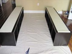 great idea for raising a platform bed and adding storage!