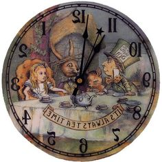 Alice in Wonderland Tea Party Backwards clock - Polyvore