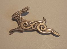 Celtic Rabbit Brooch or Pendant in Bronze