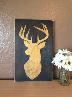 projects ideas dear head. Gold Deer Head Wood Sign by SaltboxHouseSigns  25 00 Pillow Cover SoVintageChic on Etsy Diy house projects