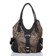 Give 'em the bold shoulder with this slouchy shoulder bag; its animal-print paneling is the ultimate in fierce and begs to be worn with monochromatic looks.    FOR DAY try a black long-sleeve tunic dress and velvety loafers.