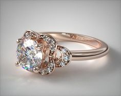 53455 engagement rings, vintage, 14k rose gold art deco inspired flower halo engagement ring item - Mobile