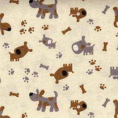 Puppy Dogs Paw Prints and Dog Bones Flannel by MalibuQuiltworks, $7.95